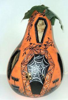 Halloween Gourds, Halloween House, Hand Painted Gourds, Light Up, Etsy, Design, Halloween Pumpkins