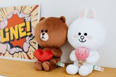 "LINE FRIENDS BROWN & CONY Soft Plush Toy with Magnet Stuffed Character Doll 10"" #LINEFRIENDS #StuffedToy #Heart #BROWN #IceCream #CONY #PlushToy #Magnet #Doll"