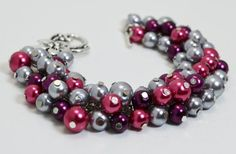Gray Cluster Bracelet with Plum and Fuchsia pearls by Eienblue, $15.00