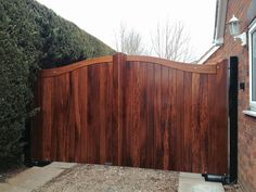 Iroko wood gates with full BFT underground automation Wood Gates, Timber Gates, Electric Gates, Wooden Gates, Wooden Gates, Wooden Front Doors