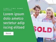 A creative template for a Business Events template. This includes a green background with white text showing information on the event as well as an image showing a couple holding a 'sold' sign. Real Estate One, Event Template, Sold Sign, Business Events, Green Backgrounds, Lorem Ipsum, First Time, Advertising, Social Media