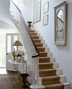 cottage and vine: DIY Stair Runner - white stairs Painted Stairs, Wooden Stairs, Bannister Ideas Painted, Sisal Stair Runner, Stair Runners, Rug Runners, White Stairs, White Banister, White Walls