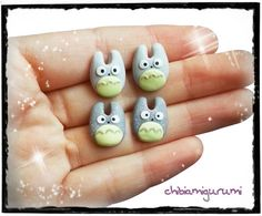 Totoro earrings chibi necklace in polymer clay por Chibiamigurumi, €7.50