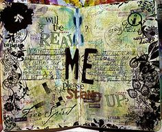 "Visual journal entry from Heidi's blog at Heidiology - love the idea of the journaling prompt - ""the Real Me"""