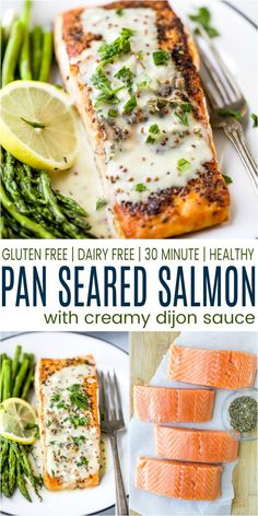 Low Carb Pan Seared Salmon drizzled with a Creamy Dijon Sauce - this easy flavorful dinner will impress and takes just 30 minutes. Pan seared salmon is delicious on it& own but topped with this dairy free creamy dijon sauce totally takes it up a notch. Seared Salmon Recipes, Healthy Salmon Recipes, Pan Seared Salmon, Fish Recipes, Seafood Recipes, Healthy Dinner Recipes, Dairy Free Salmon Recipes, Grilling Recipes, Meat Recipes