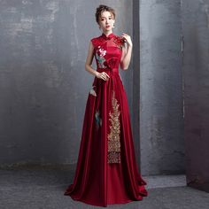Red A-Line Floor Length Qipao / Cheongsam Wedding Dress with Embroidery - CozyLa. - - Red A-Line Floor Length Qipao / Cheongsam Wedding Dress with Embroidery - CozyLadyWear 2019 New Collection Models Ladies-Receive New and Up-to-Date Ne. Asian Wedding Dress, Red Wedding Dresses, Chinese Wedding Dresses, Asian Prom Dress, Wedding Dress With Red, Chinese Style Prom Dress, Wedding Chinese, Asian Style Dress, Yellow Wedding