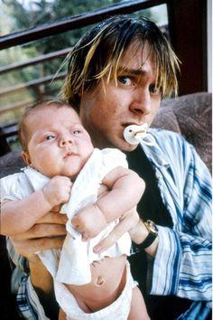 Kurt Cobain Daughter | vintage everyday: Old Photos of Kurt Cobain with His Baby Daughter