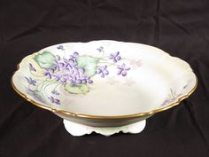 Hutschenreuther Selb LHS footed bowl vtg Bavaria Germany M Brooks gold flowers #Hutschenreuther
