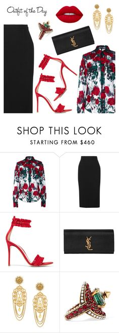 Outfit of the Day by dressedbyrose on Polyvore featuring Adam Selman, Roland Mouret, Gianvito Rossi, Yves Saint Laurent, Dolce&Gabbana, Gucci, Petit Bateau, ootd and polyvoreeditorial