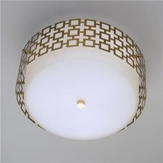 """Jonathan Adler Ceiling Light - 3 Finishes  Update your room with this modern metal overlay and white frosted-glass drum ceiling light. Backplate: 12.5"""" round. 3x75 watts. Specify Dark Oiled Bronze, Polised Nickel or Antique Brass. Weight: 10 lbs."""