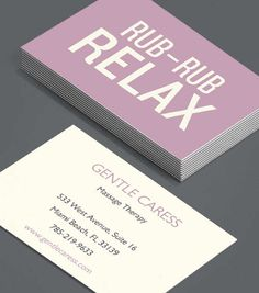 Rub Rub Relax: direct and to the point, these text-forward Business Cards for massage therapists really spell it our for potential clients – here's what I'm going to do, and it's going to work. Now hire me – you'll feel better for it! #moocards #luxebymoo #businesscards