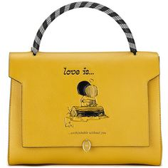 Anya Hindmarch Love Bathurst Satchel ($2,350) ❤ liked on Polyvore featuring bags, handbags, leather satchel, yellow satchel, genuine leather handbags, anya hindmarch handbag and leather handbags