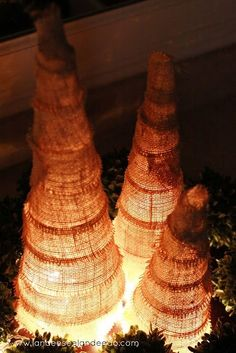 DIY Burlap Christmas Trees with battery lights underneath! You could even make these out of tomato cages. by pat-75