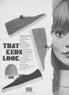 A taste of what Keds was in So Twiggy! Retro Advertising, Vintage Advertisements, Vintage Ads, Vintage Love, Vintage Shoes, Vintage Style, Bally Poster, 1960s Fashion, Vintage Fashion