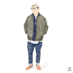 Street snap illustration   By @tsualedan   #見見 #插畫 #百人穿搭插畫 #jianjian #illustration #illustrator #art #artwork #instagood #instadaily #ootd #streetstyle #streetsnaps #ma1 #ma1jacket #oversize #beret #olivegreen #oversized #black #fashion #wear #lookbook #lovely #menswear #mensfashion #plainme_snap