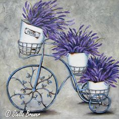 ♥♥✿⊱~ Levander lavande lavender france purple provence cottage rustic Art by Stella Bruwer Decoupage Vintage, Vintage Art, Lavender Blue, Lavender Flowers, Art Floral, Stella Art, Painting & Drawing, Flower Art, Creations