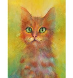 Cat Watercolor painting - print of original painting. Nature or Animal Illustration. Mimosa and Orange.