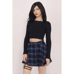 """anetwist:  """"  Tobi School Night Pleated Mini Skirt ❤ liked on Polyvore (see more black mini skirts)  """"  A great tartan pleated miniskirt."""