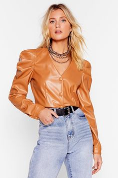 Faux Leather Too Much Puff Sleeve Crop Top Nasty Gal, Nice Dresses, Winter Outfits, Leather Jacket, Sleeve Dresses, Puff Sleeves, Crop Tops, Hoe, Blouse