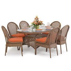 Coquina Key Outdoor Wicker 7 Piece Dining Set Driftwood - Leaders Casual Furniture