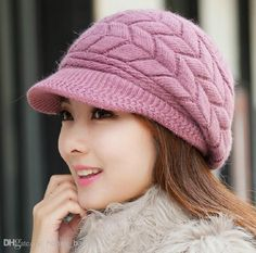Autumn Winter Girls Knitted Cap Rabbit Fur Cap Peaked Cap Cashmere Woolen  Cotton Yarn Hat Women Stingy Brim Hats Headwear. BoinasBufandas TejidosSombreros ... 6d679c7fd9a