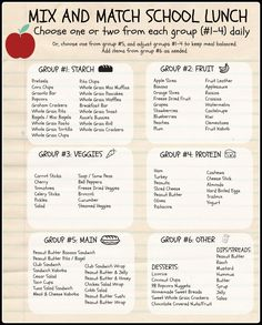 Healthy Mix and Match School Lunch Options.  Keep lunch healthy and fun with these ideas and printable from Your Own Home Store: http://simplefamilypreparedness.com/school-lunches/