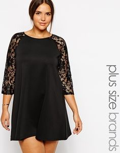 Club L Plus Size Scuba Dress With Lace Sleeves - black