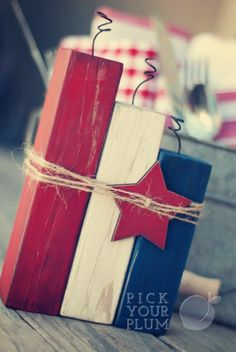 Red, White, and BOOM! Painted Wooden Firecrackers