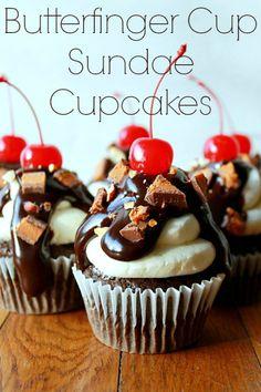 ButterFinger Cup Sundae Cupcakes Recipe