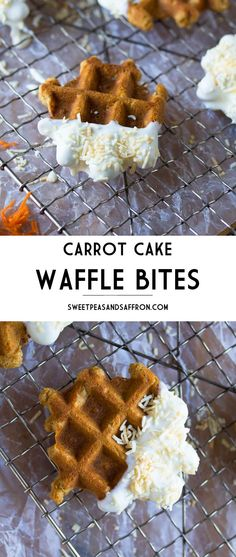 Bite-sized carrot cakes are waffled, dipped in cream cheese frosting, and sprinkled with toasted coconut!