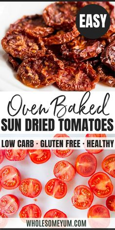 How To Make Sun-Dried Tomatoes In The Oven - The easiest method for how to make sun-dried tomatoes in the oven! Plus, how to use homemade sun-dried tomatoes in recipes and how to store them. #wholesomeyum #lowcarb #sidedish #snack #easy Real Food Recipes, Great Recipes, Cooking Recipes, Favorite Recipes, Low Carb Appetizers, Appetizer Recipes, Banting Recipes, Vegetarian Recipes, Make Sun Dried Tomatoes