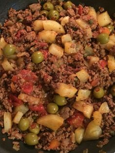 Abuela's Picadillo Cubano and our first grocery outing! - Tales from the Mommy Trenches - Abuela's Picadillo Cubano and our first grocery outing - Cuban Dishes, Spanish Dishes, Beef Dishes, Spanish Food, Spanish Olives, Mexican Food Recipes, Beef Recipes, Dinner Recipes, Cooking Recipes