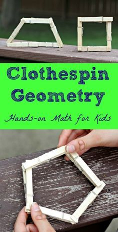 Use clothespins to teach kids about shapes, geometry and more math concepts!