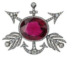 Victorian Pink Tourmaline & Diamond Brooch