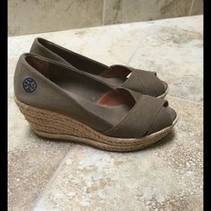 Tory Burch Wedges!!! Comfortable Tory Burch wedges! Worn only a few times, excellent condition! Tory Burch Shoes Wedges
