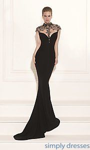 Buy Long High Neck Gown with Cap Sleeves by Tarik Ediz at SimplyDresses