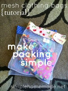 Use mesh laundry bags, from the Dollar Store, to keep like things together like socks, kid's outfit's top and bottoms, two-piece bathing suits, etc.