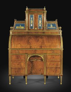 A RUSSIAN MAHOGANY, GILTBRONZE AND EGLOMISED GLASS BUREAU À CYLINDRE, SAINT PÉTERSBOURG, CIRCA 1790, ATTRIBUTED TO HEINRICH GAMBS