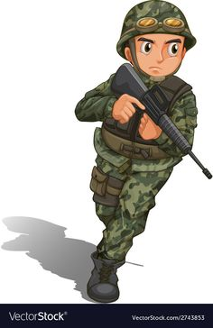 A soldier with a gun vector image on VectorStock Army Birthday Parties, Cute Birthday Gift, Cartoon Girl Images, Cute Cartoon, Drawing For Kids, Art For Kids, Community Helpers Crafts, Paper Background Design, Indian Army Wallpapers