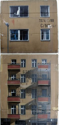 Spray-painted stenciled paintings on used flattened cardboard boxes by German street artist Evol.