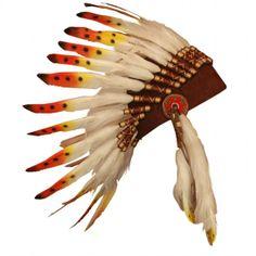 Coiffe de chef indien en plumes véritables