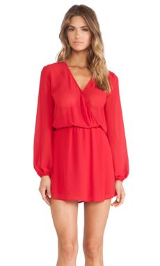 Charles Henry Wrap Front Dress in Red | REVOLVE