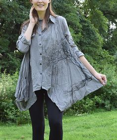 Loving this Simply Couture Gray Tree Sidetail Button-Up on #zulily! #zulilyfinds