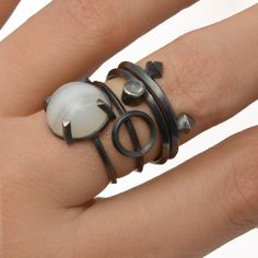 Metropolis Stacking Ring with Geometric Setting in Sterling Silver