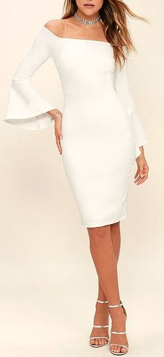 Every piece you need for an effortlessly chic wardrobe. Shop the newest arrivals now! All White Party Outfits, All White Outfit, Cool Outfits, White Dress, Rehearsal Dinner Outfits, Dress Skirt, Dress Up, White Off Shoulder, Look Chic