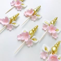Pink and Gold Unicorn Horn and Ears cupcake topper set for baby shower or 1st Birthday Unicorn themed party. #Unicorn #Unicornparty #Babyshower