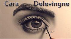 Auge malen in der Trockenpinseltechnik/ Cara Delevingne speed drawing
