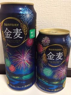 Japan2015 SUNTORY New Design KINMUGI Fireworks empty beer cans 500ml and 350ml