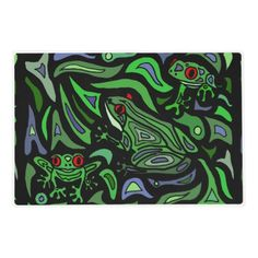 Fun Frogs Green and Black Abstract Placemat #frogs #placemat #abstract #art And www.zazzle.com/inspirationrocks*