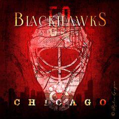 Chicago Blackhawks Map  Corey Crawford Skyline Mask by RetroLeague
